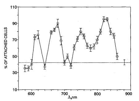 Cytochrome c oxidase action spectrum showing peaks at 620, 680, 750, and 820-830 nm.